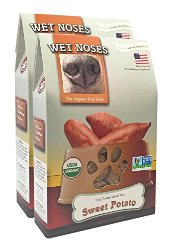 Wet Noses All Natural Dog Treats, Made in USA, 100% USDA Certified Organic, Non-GMO Project Verified (Sweet Potato, 2-Pack) (Treats Organic Potato Dog Sweet)