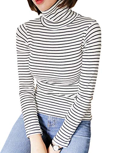 LRT Womens Slim Fit Striped Shirts Turtle Neck Blouses (Free, White)