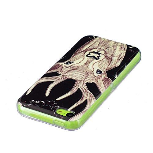 Hülle iPhone 5C, IJIA Ultra Dünnen Transparent Leuchtende Nacht Sika Rotwild TPU Weich Silikon Handyhülle Schutzhülle Handyhüllen Schale Case Tasche für Apple iPhone 5C + 24K Gold Aufkleber