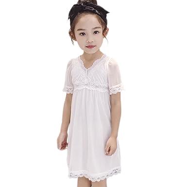 4f8ed0a6961c7 NiceYY 子供 ジュニア ワンピース フォーマル 白 半袖 フラワー レース 透け感 女の子 キッズ チュール プリンセス ドレス
