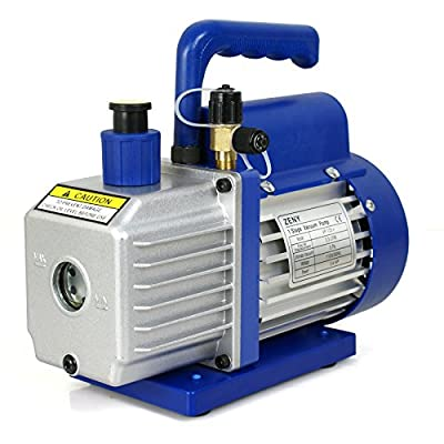 """ZENY 3,5CFM Single-Stage 5 Pa Rotary Vane Economy Vacuum Pump 3 CFM 1/4HP Air Conditioner Refrigerant HVAC Air Tool R410a 1/4\"""" Flare Inlet Port, Blue: Industrial & Scientific [5Bkhe0907681]"""