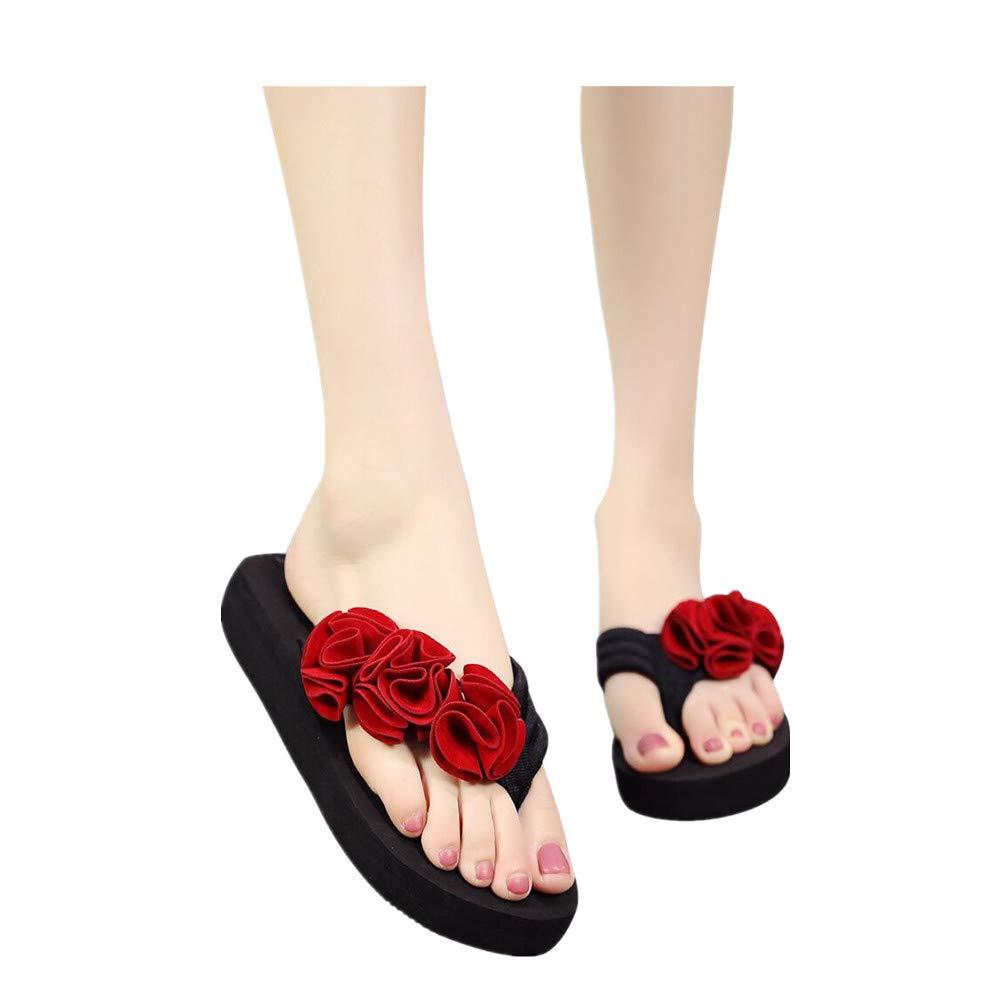 36d592198186e Amazon.com: Women Boho Flip Flops Casual Clip Toe Beach Flat Slippers  Flower Strap Wedges Sandals: Clothing