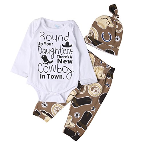Newborn Infant Baby Girl Boy Romper+Cowboy Long Pants Hat 3pcs Outfit Set (0-3 Months) ()