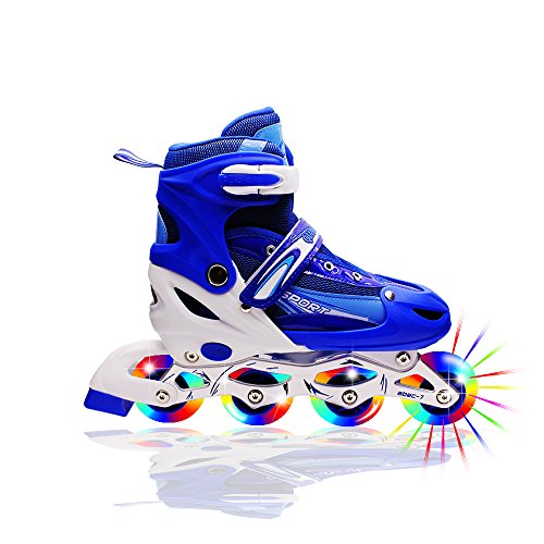 Kids Light Up Inline Roller Skates Adjustable Rollerblades Unisex Blue M (Aggressive Roller Skates)