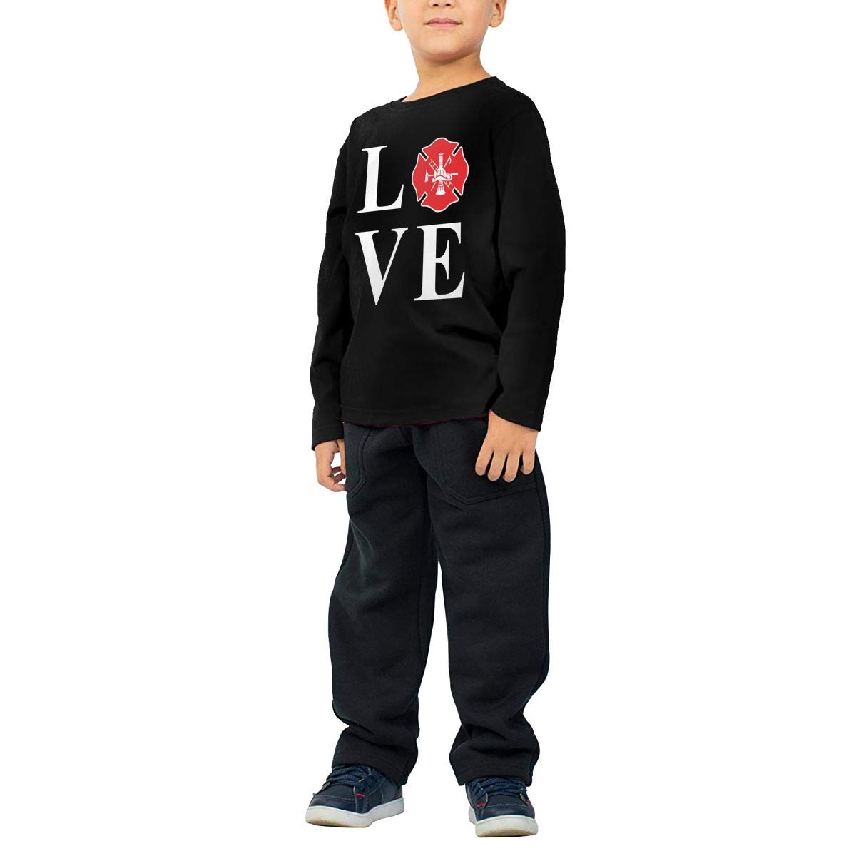 Love Firefighter Kids T-Shirt Long Sleeve Boys Girls T-Shirt