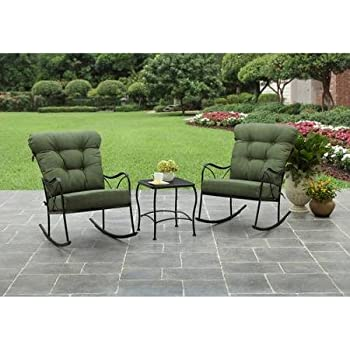 Better Homes And Gardens Seacliff 3 Piece Rocking Chair Bistro Set (Green)
