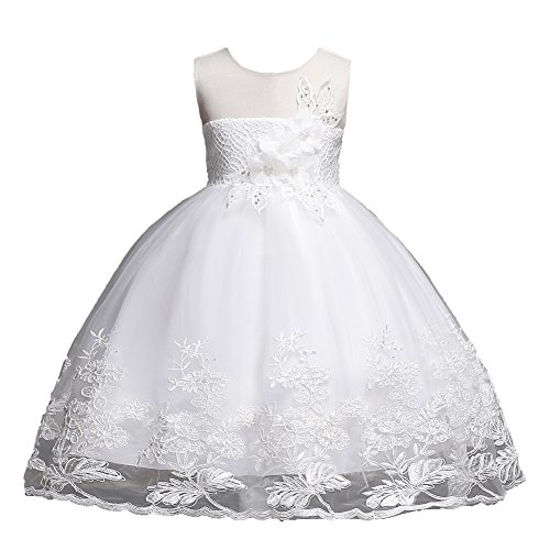 Girls Dresses 7-16 Special Occasion Formal Prom Ball Gowns 6 Years Old Sleeveless Tulle Lace Dress for Wedding Birthday Party 6-7T White Flower Spring Summer Holiday Dress for Children (White 130)