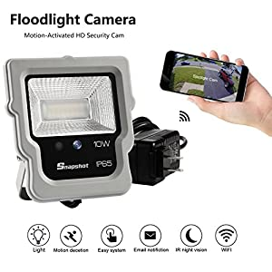 Eco-Mate Floodlight with WIFI Camera Motion-Activated 450 Lm Daylight White,LTE 10W Waterproof Outdoor LED security Motion Sensor light 5700K with Hidden camera built-in 60 degree Night Vision/Motion
