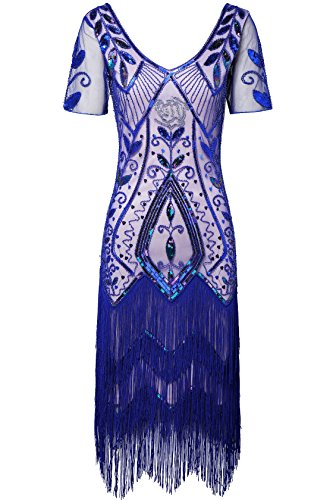 BABEYOND 1920s Art Deco Fringed Sequin Dress 20s Flapper Gatsby Costume Dress (Blue, Small) -