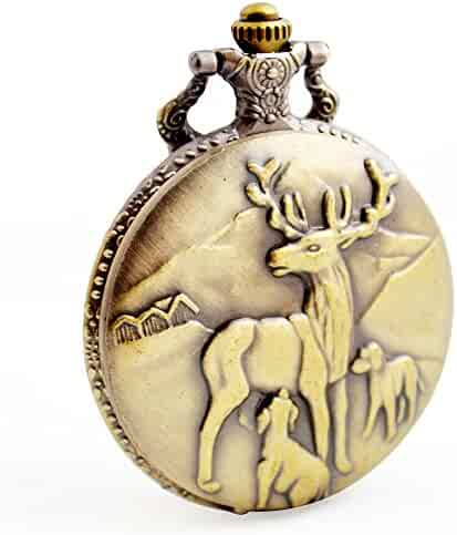 Deer Quartz Pocket Watch - BOSHIYA Antique Full Hunter Steampunk Heavy Metal Pocket Watches with Chain