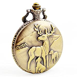 BOSHIYA Men's Pocket Watch Classic Vintage Quartz Watch Animal Deer Pocket Watch