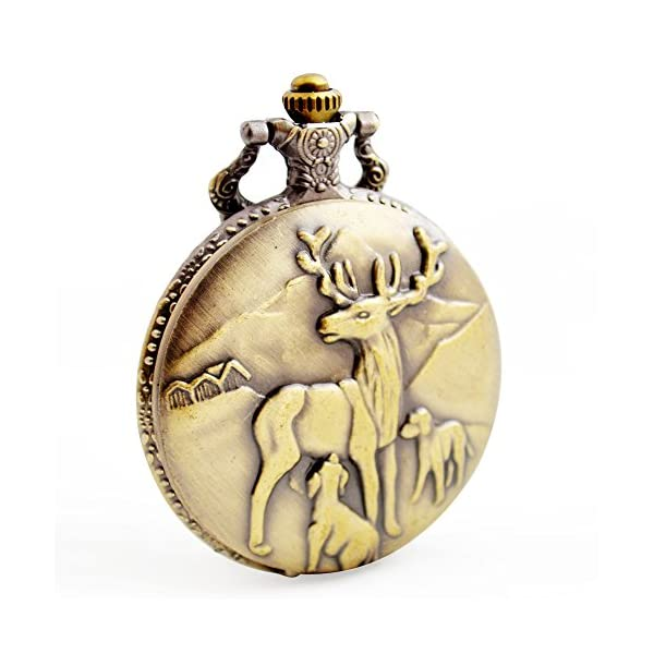 BOSHIYA Men's Pocket Watch Perfect Anniversary Gift Classic Vintage Quartz Watch Animal Deer Pocket Watch Accessories 3