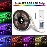 LED Strip Lights Battery Powered, SOLMORE 6.6ft 60LED RGB Strip Lights Rope Lights Waterproof Flexible Color Changing RGB LED Light Strip with Remote Control for DIY Party Living Room