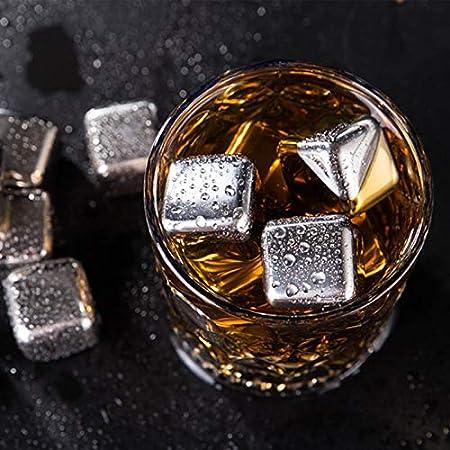 Juego de piedras de whisky, cubos de hielo reutilizables de acero inoxidable 304, rocas de vino con pinza de hielo, adecuado para vodka, licores, jugo de bebidas o refrescos (16 piezas)