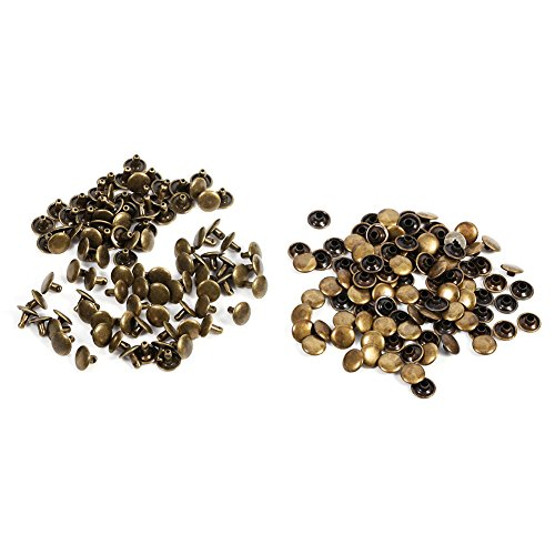 - 100PCs Double Cap Rivet Metal Accessory Replacement for Leather Craft Repairs Studs Spike DIY Decoration - 3 Colors (Bronze)