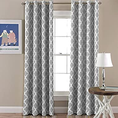 FlamingoP Room Darkening Moroccan Tile Quatrefoil Blackout Top Grommet Unlined Thermal Insulated Window Curtains, Gray, Set of Two Panels, each 84 by 52