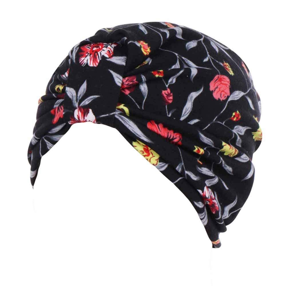 Women's Muslim Stretch Turban Hat Hair Loss Head Wrap Cap Chemo Cap Sleep Cap Fashion Slouchy Hats for Women by Tianjinrouyi Hats (Image #2)