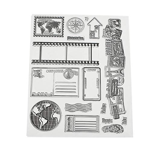 - Vintage Postcards Postmark Pattern Scrapbook Photo Album Cards Transparent Silicone Clear Stamps - Camera Accessories Photo Albums -1 x Transparent Stamp