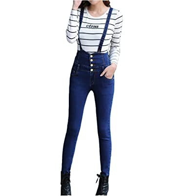 7ca0329975d2 Elwow Women s New Type Four Button Skinny Denim Romper Jumpsuit Bib  Dungarees Pants Long Trouser with