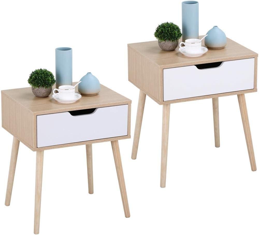 Yaheetech Lot de 7 Tables de Chevet Tables de Nuit Scandinave avec Tiroir  Table Carrée à Café Thé pour Salon Couloir Chambre Bureau (Bois et Blanc)