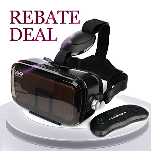 """ETVR 3D VR Headset With Remote Controller-Unique Virtual Reality Experience For Movies Games, More Comfortable VR Glasses Goggles Fit For 4.5""""-6.2"""" iPhone7/6/ 6s plus, Samsung S5/6/7 Edge Etc."""