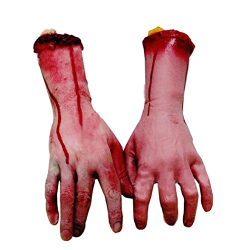AMA(TM) 1pcs Halloween Horror Props Bloody Hand Bar Haunted House Props Tricky Toys Party Decor (Life Size Severed Hand)