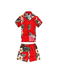 Boy Hawaiian Luau Shirt and Shorts Cabana Set in Panel Floral