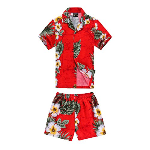 Boy Hawaiian Shirt and Shorts 2 Piece Cabana Set in Red with Panel Floral 8 Year Old