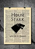 Game of Thrones Art Prints | House Stark - Winterfell | Vintage Dictionary Prints Home Vintage Art Abstract Prints Wall Art for Home Decor Wall Decorations Office (Print Only)