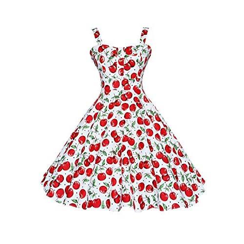4cac8e701 Botomi Women  s vintage años 50 Hepburn Classique cereza vestido patrón  swing Brace best