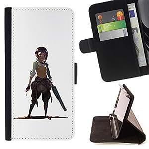 Momo Phone Case / Flip Funda de Cuero Case Cover - Dibujo Guerrero Mujer Pistolero Blanca - Apple Iphone 5C