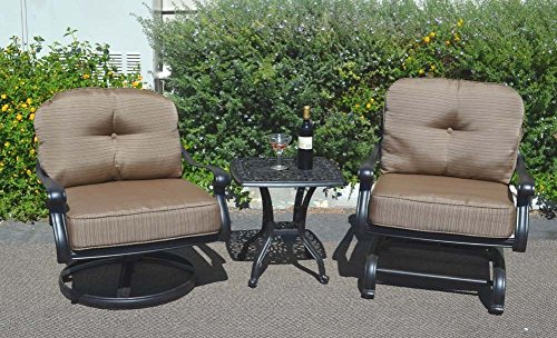 3 Piece Bistro Set Outdoor Elisabeth Club Rocker - Spring Base Swivel Chairs and 1 End Table Cast Aluminum (Patio Spring Base Club Chair)