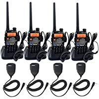 Retevis RT-5RV Two Way Radios 5W 128CH Dual Band Dual Frequency UHF/VHF 400-520/136-174MHz VOX FM Walkie Talkies with Earpiece(4 Pack) and Speaker Mic(4 Pack)