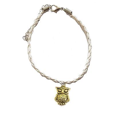 Gold Owl Leather Ankle Bracelet White Amazon Co Uk Jewellery