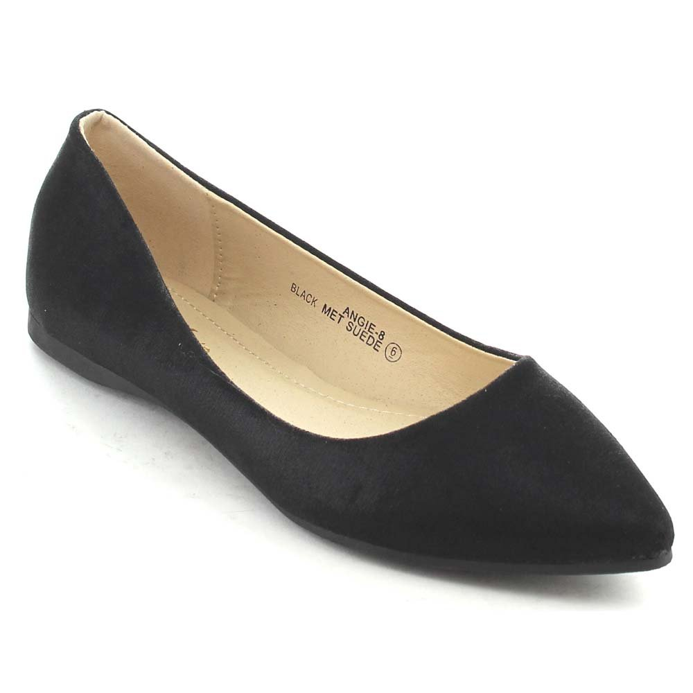 Bella Marie BellaMarie Angie-8 Women's Classic Pointy Toe Glitter Ballet Flat Shoes B00SKOF7J2 7.5 B(M) US Black