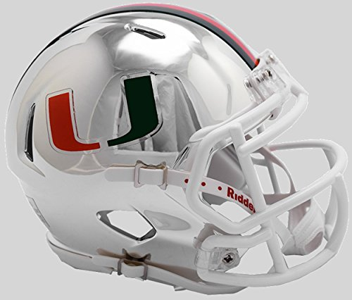 Riddell NCAA Miami Hurricanes Unisex Miami Hurricanes Helmet Replica Mini Speed Style Chrome Alternatehelmet Replica Mini Speed Style Chrome Alternate, Team Colors, One Size