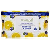 Petal Fresh Botanicals White Radiance Blueberry and Lemon Exfoliating Facial Cleansing Wipes, 60 Count