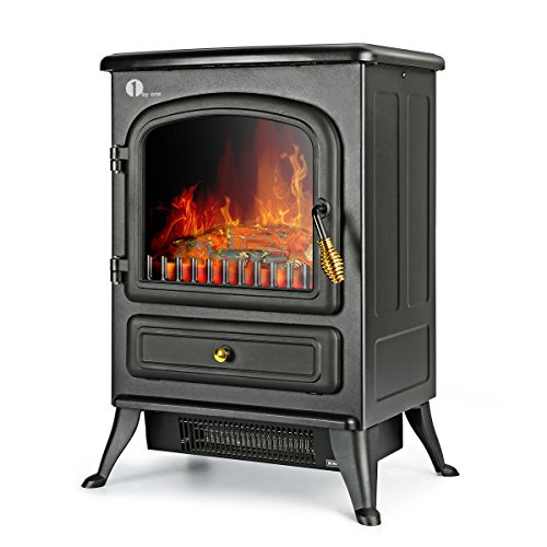 1byone Electric Fireplace Stoves, Fake Electric Fireplace, Electric Fireplace Heater Corner Fireplace with Safety Overheat Protection Cut-Off, Black Compact Corner Electric Fireplace