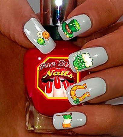 St Patrick's Day Nail Art Decals (Tattoo). Shamrock, Green Beer,Horseshoe - Amazon.com: St Patrick's Day Nail Art Decals (Tattoo). Shamrock