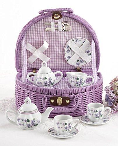 Delton Products Porcelain Tea Set in Basket, Violets