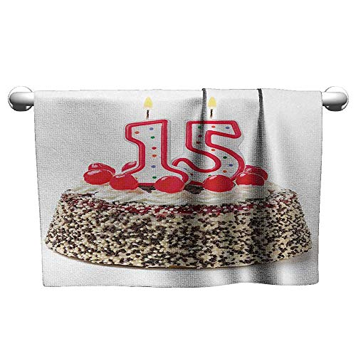 Personalized Hand Towels 15th Birthday,Chocolate Cherry Tasty Cake with Number Candles Surpise Party Theme Image,Multicolor,Beach Towel for ()