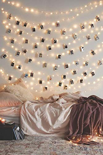 Photo Clip String Lights 17Ft - 50 LED Fairy String Lights with 50 Clear Clips for Hanging Pictures, Photo String Lights with Clips - Perfect Dorm Bedroom Wall Decor Wedding ()