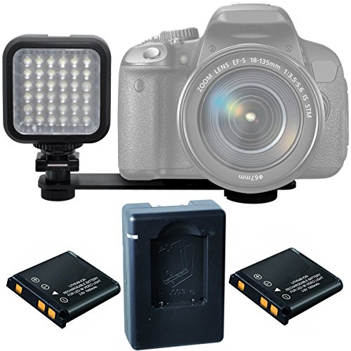 On-Camera LED Video Light Kit for Nikon, Sony, Samsung, Fujifilm, Fuji, Olympus, Panasonic, Pentax Digital SLR Camera and Video Camcorder - Includes Video Light, 2X Batteries, Charger, Bracket
