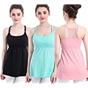 SUIEK 3PACK Nursing Top Tank Cami Maternity Shirt Sleep Bra for Breastfeeding (Small, Black + Light Green + Pink (3/Pack))