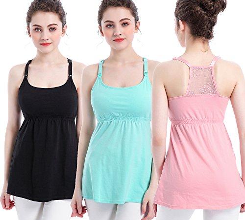 TANZKY 3PACK Nursing Top Tank Cami Maternity Shirt Sleep Bra for Breastfeeding (Large, Black + Light Green + Pink (3/Pack))
