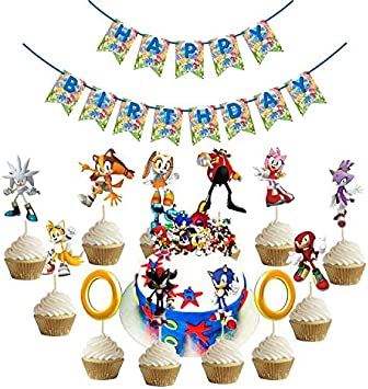 Amazon Com Sonic The Hedgehog Birthday Party Supplies Happy Birthday Banner Cake Topper Cupcake Toppers Sonic Theme Party Decorations Toys Games