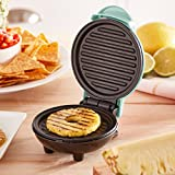 Dash DMG001AQ Mini Maker Portable Grill Machine + Panini Press for Gourmet Burgers, Sandwiches, Chicken + Other On the Go Breakfast, Lunch, or Snacks with Recipe Guide - Aqua