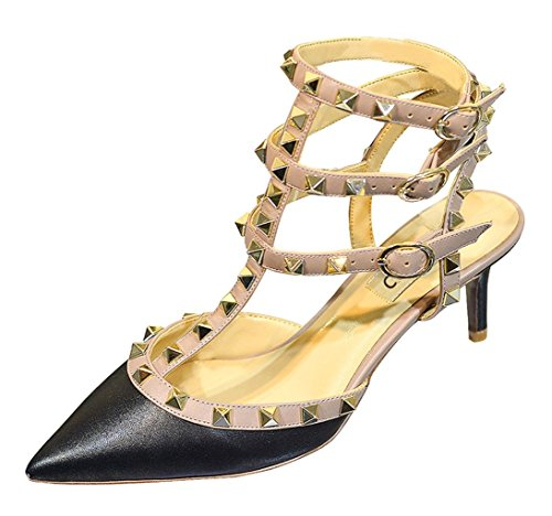 Sandals Toe Wedding Court Heels Studded Black Trim Studs Women's Shoes Strappy Pointed Beige Stiletto Gold Party Rivets Mid CAMSSOO Matte EqXzCwn8x