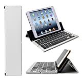 Foldable Bluetooth Keyboard - iEGrow F18 Universal Portable Bluetooth 3.0 Wireless Keyboard with Kickstand Holder for Apple iPad iPhone iOS - Andriod - Windows(Silver)