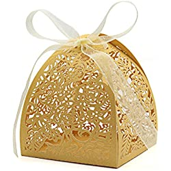 "KEIVA Pack of 70 Laser Cut Rose Candy Boxes, Favor Boxes 2.5""x 2.5""x 3.1"", Gift Boxes for Bridal Shower Anniverary Birthday Party Wedding Favor (Gold)"